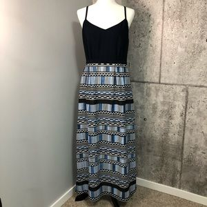 J Crew Printed Maxi Dress in Navy Blue with Slit